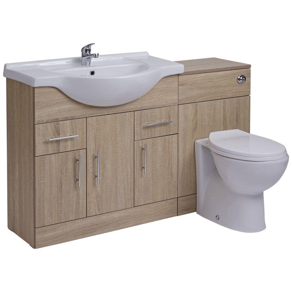 waschtisch und toiletten set eiche 1340mm ovale toilette. Black Bedroom Furniture Sets. Home Design Ideas