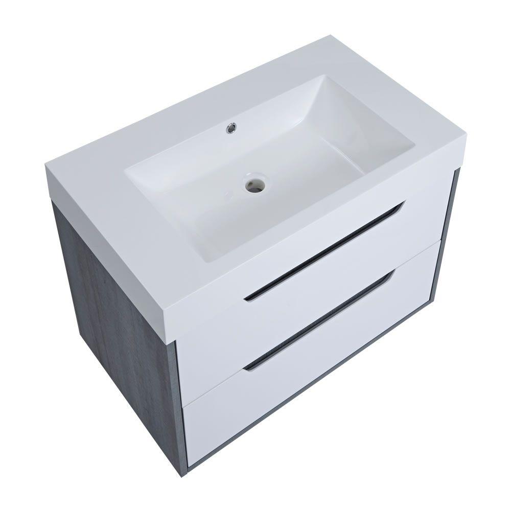 waschtisch mit unterschrank grau 800mm optional mit f en. Black Bedroom Furniture Sets. Home Design Ideas