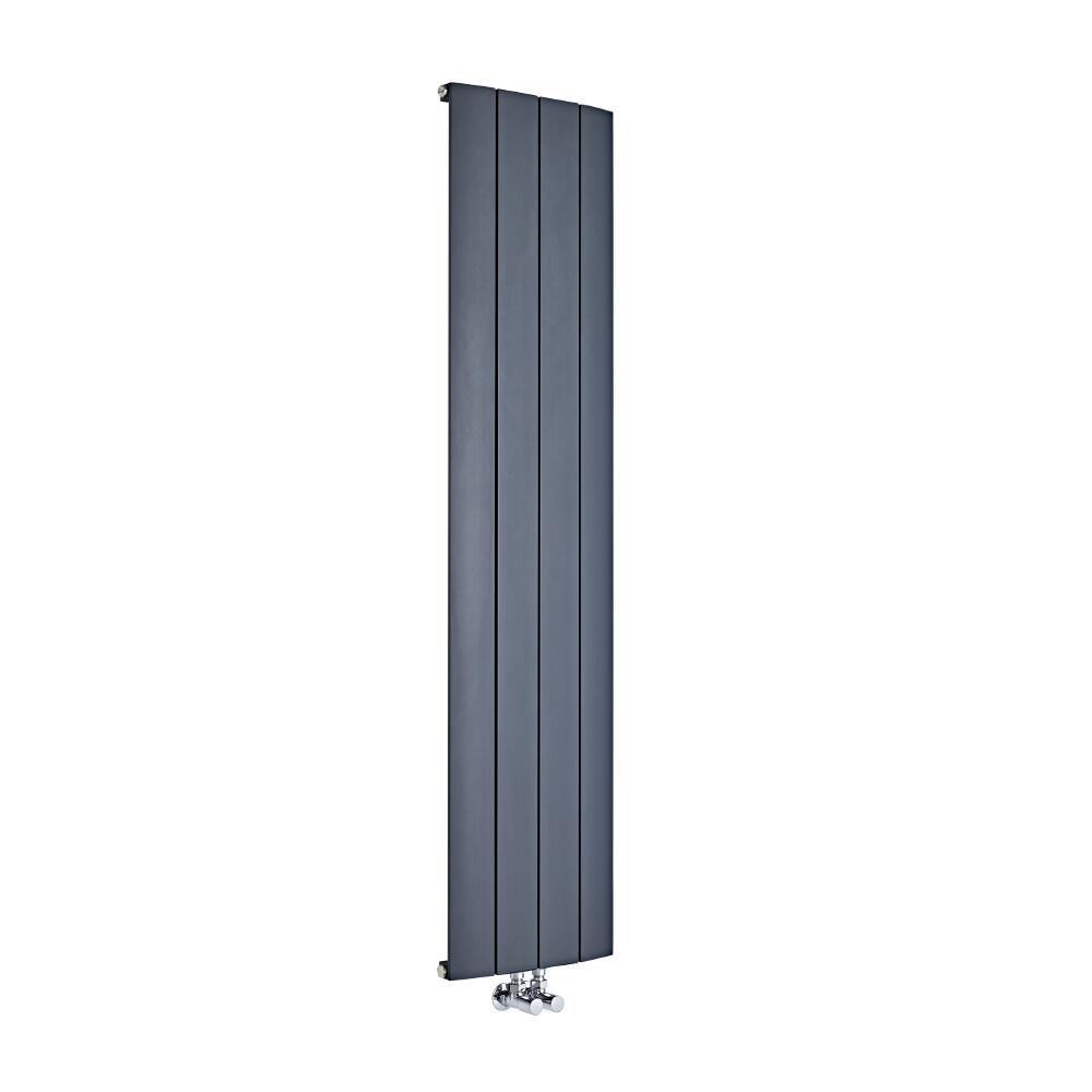 design heizk rper vertikal einlagig mittelanschluss aluminium anthrazit 1600mm x 375mm 1361w. Black Bedroom Furniture Sets. Home Design Ideas