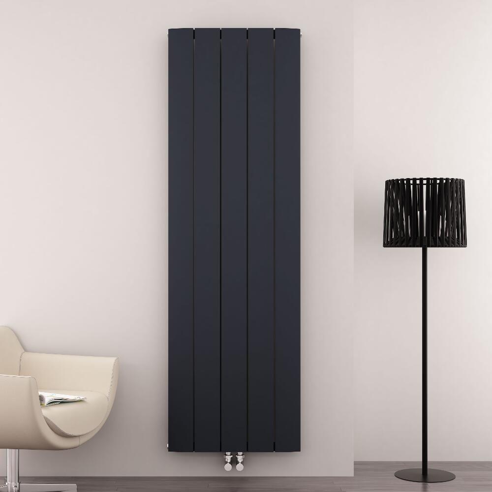 design heizk rper vertikal einlagig mittelanschluss aluminium anthrazit 1800mm x 470mm 1919w. Black Bedroom Furniture Sets. Home Design Ideas