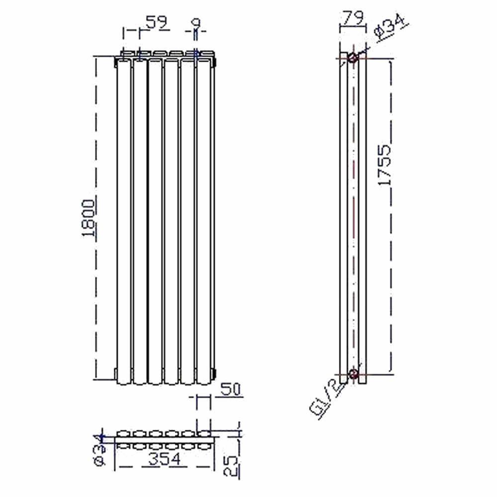 design heizkörper vertikal doppellagig hochglanz silber 1800mm x