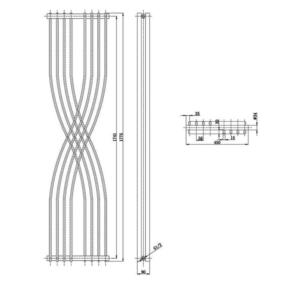 design heizkörper vertikal einlagig schwarz 1775mm x 450mm 925w - xcite