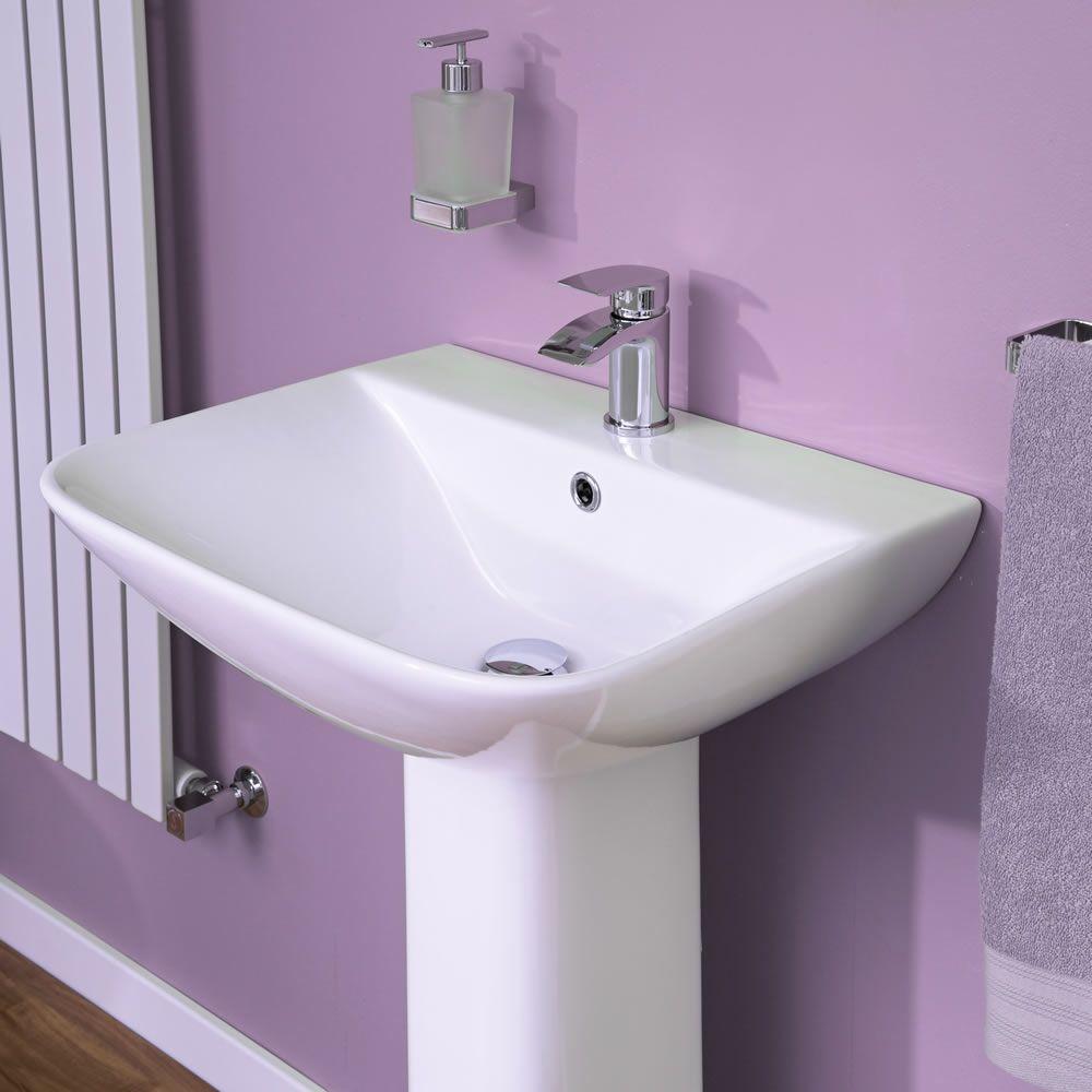 modernes waschbecken mit sockel und 1 loch armaturen 550mm. Black Bedroom Furniture Sets. Home Design Ideas