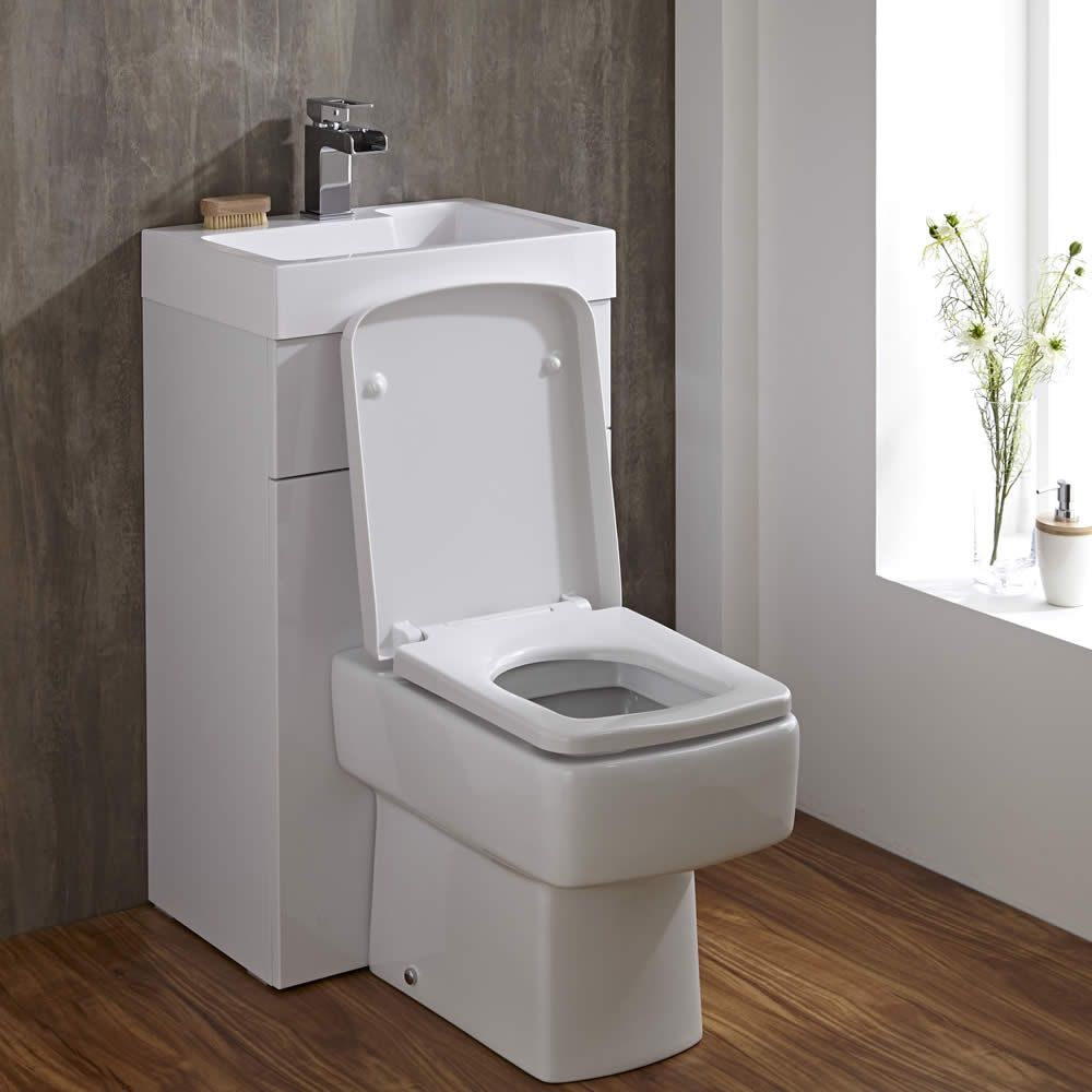 eckige toilette mit sp lkasten und integriertem waschbecken