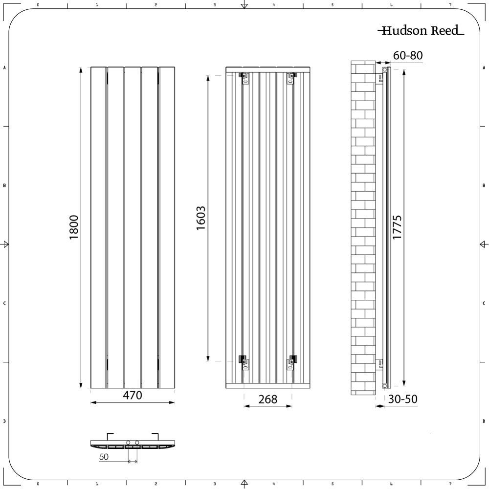 Design Heizkörper Vertikal Einlagig Mittelanschluss - Aluminium Weiß ...