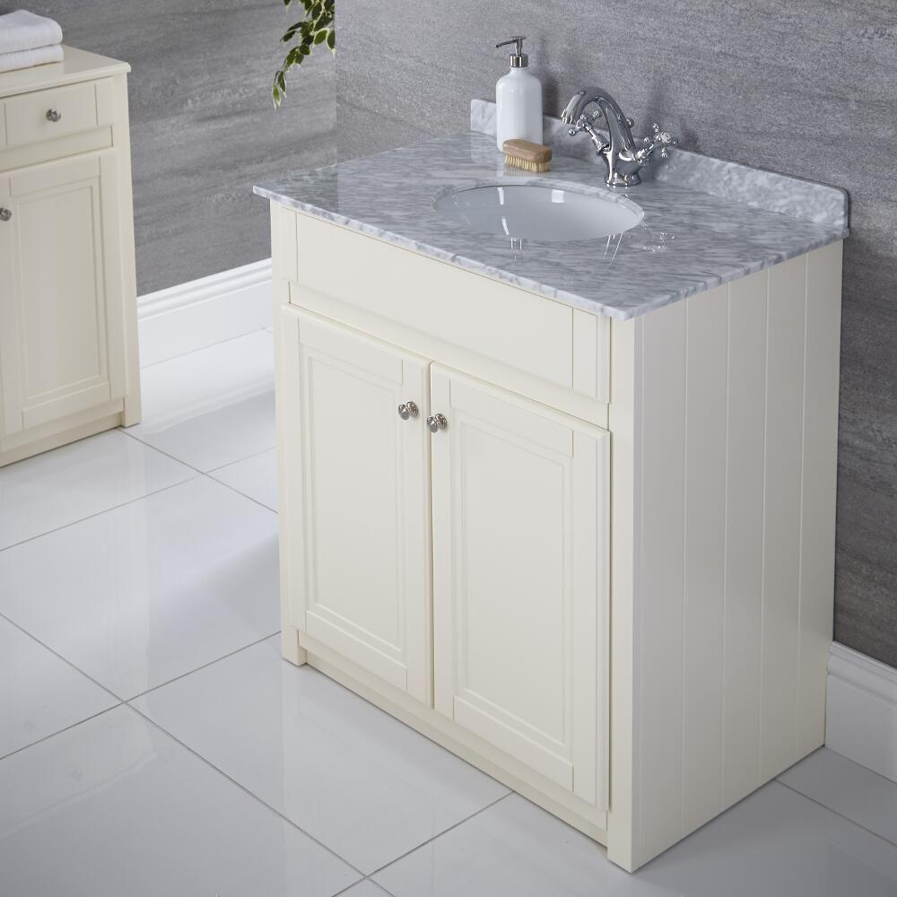 waschtischunterschrank mit aufsatzwaschbecken 800mm elfenbein charlton. Black Bedroom Furniture Sets. Home Design Ideas