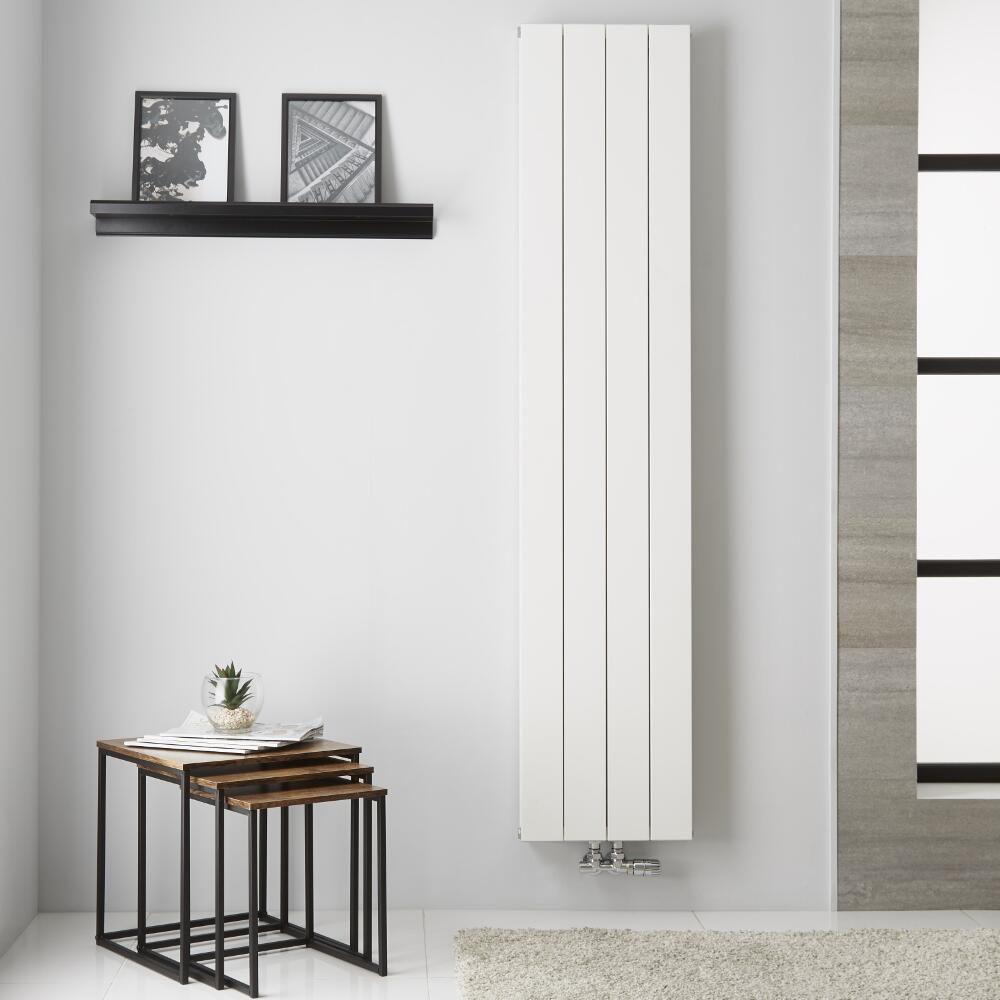 Design Heizkörper Aluminium Doppellagig Vertikal Weiß 1800mm x 375mm ...