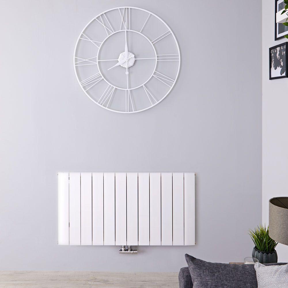 Design Heizkörper Horizontal Einlagig Mittelanschluss - Aluminium Weiß  600mm x 1135mm 1535W - Aurora