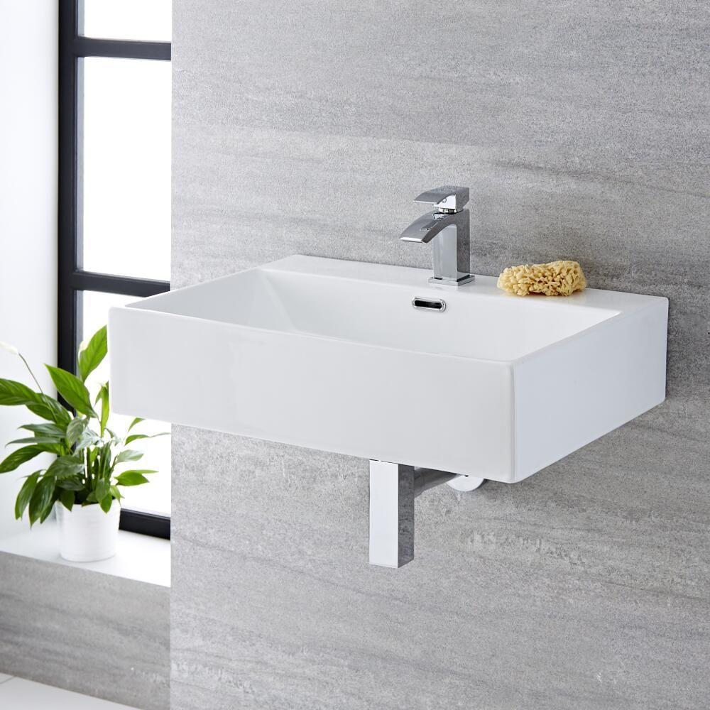 waschbecken zur aufsatzmontage oder wandmontage rechteckig 600mm x
