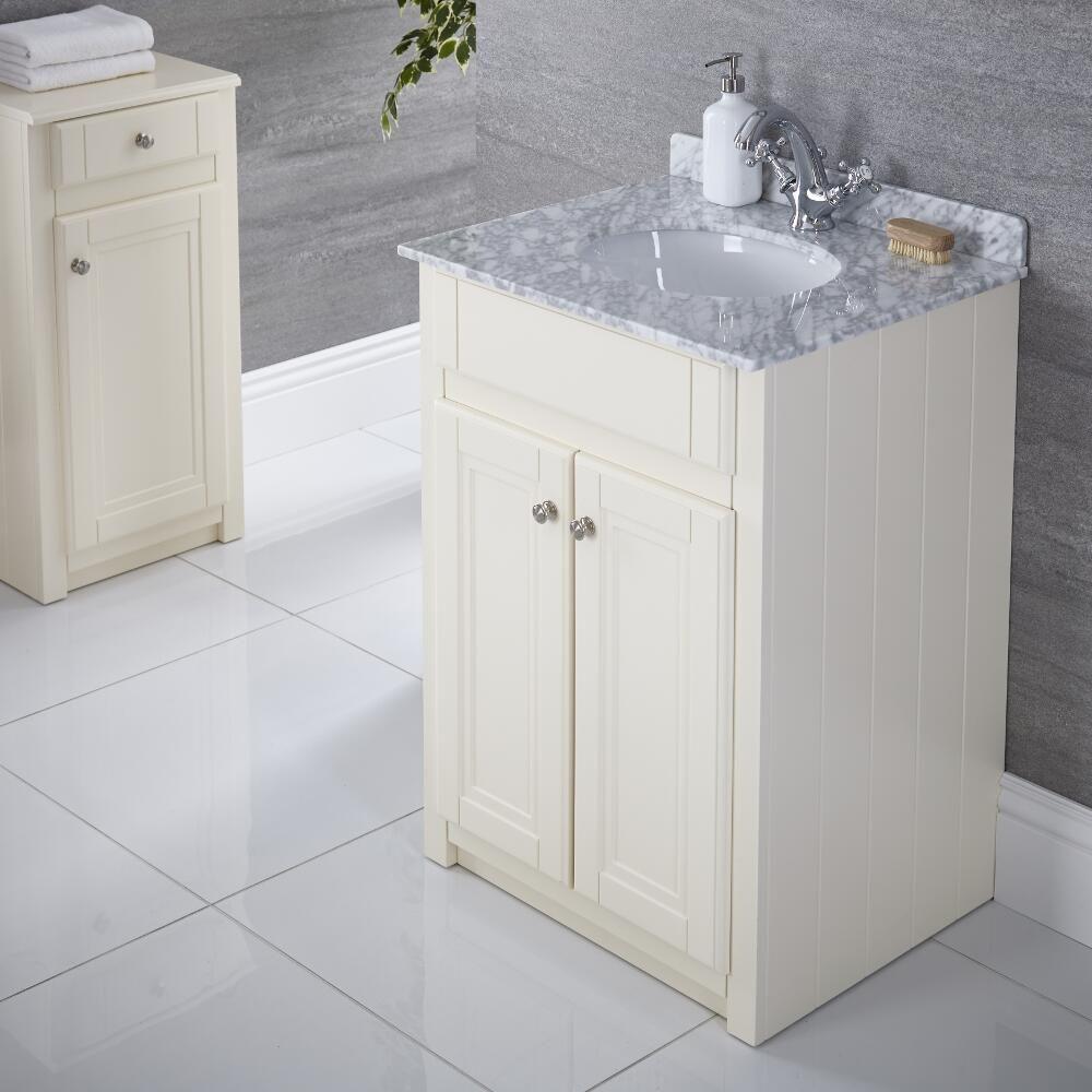waschtischunterschrank mit aufsatzwaschbecken 600mm elfenbein charlton. Black Bedroom Furniture Sets. Home Design Ideas