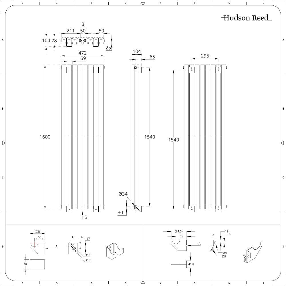 design heizk rper vertikal doppellagig mittelanschluss wei 1600mm x 472mm 1718w revive caldae. Black Bedroom Furniture Sets. Home Design Ideas