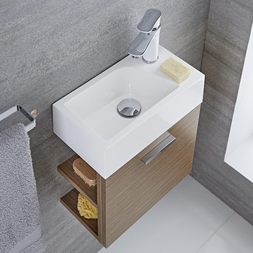 waschtisch f r g ste wc mit unterschrank eiche 400mm offene regale langley. Black Bedroom Furniture Sets. Home Design Ideas