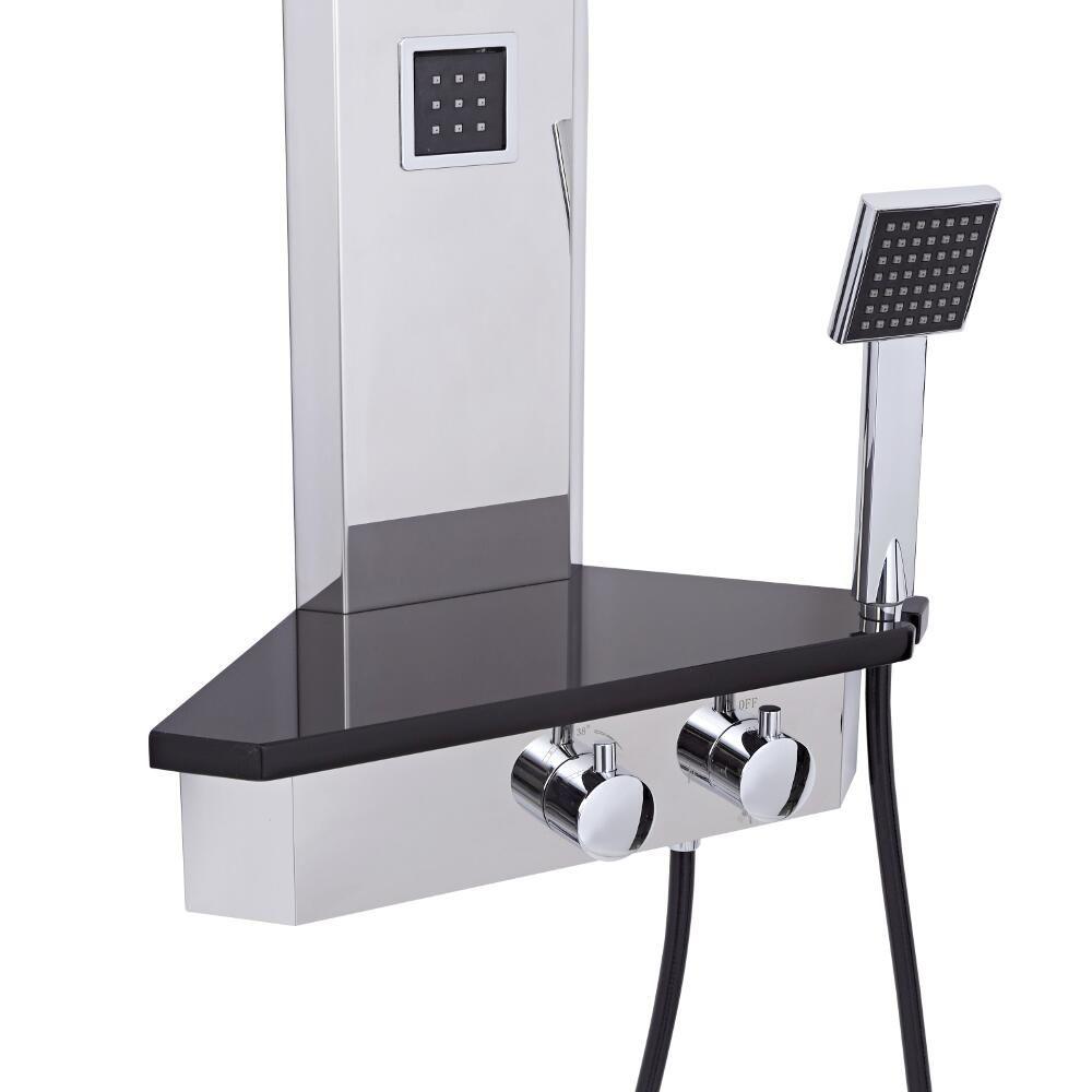 duschpaneel zur eckmontage mit ablagefl che und k rperd sen alcove. Black Bedroom Furniture Sets. Home Design Ideas
