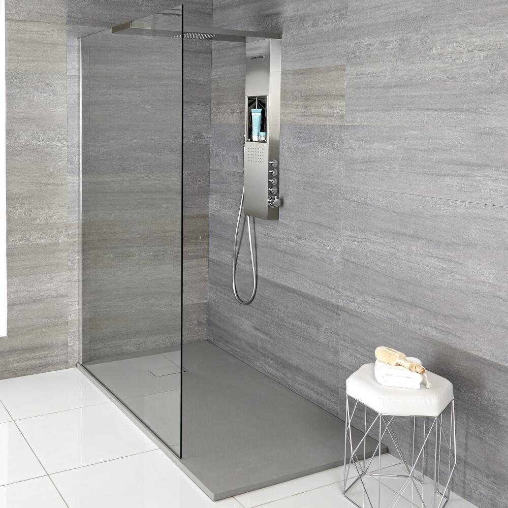Iko   Komplette Walk In Dusche Mit Duschwanne In Grauer Steinoptik U0026  Glashaltendem Duschpaneel