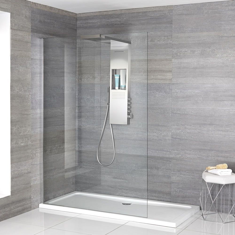 hudson reed portland begehbare dusche inkl. duschwanne und duschpaneel