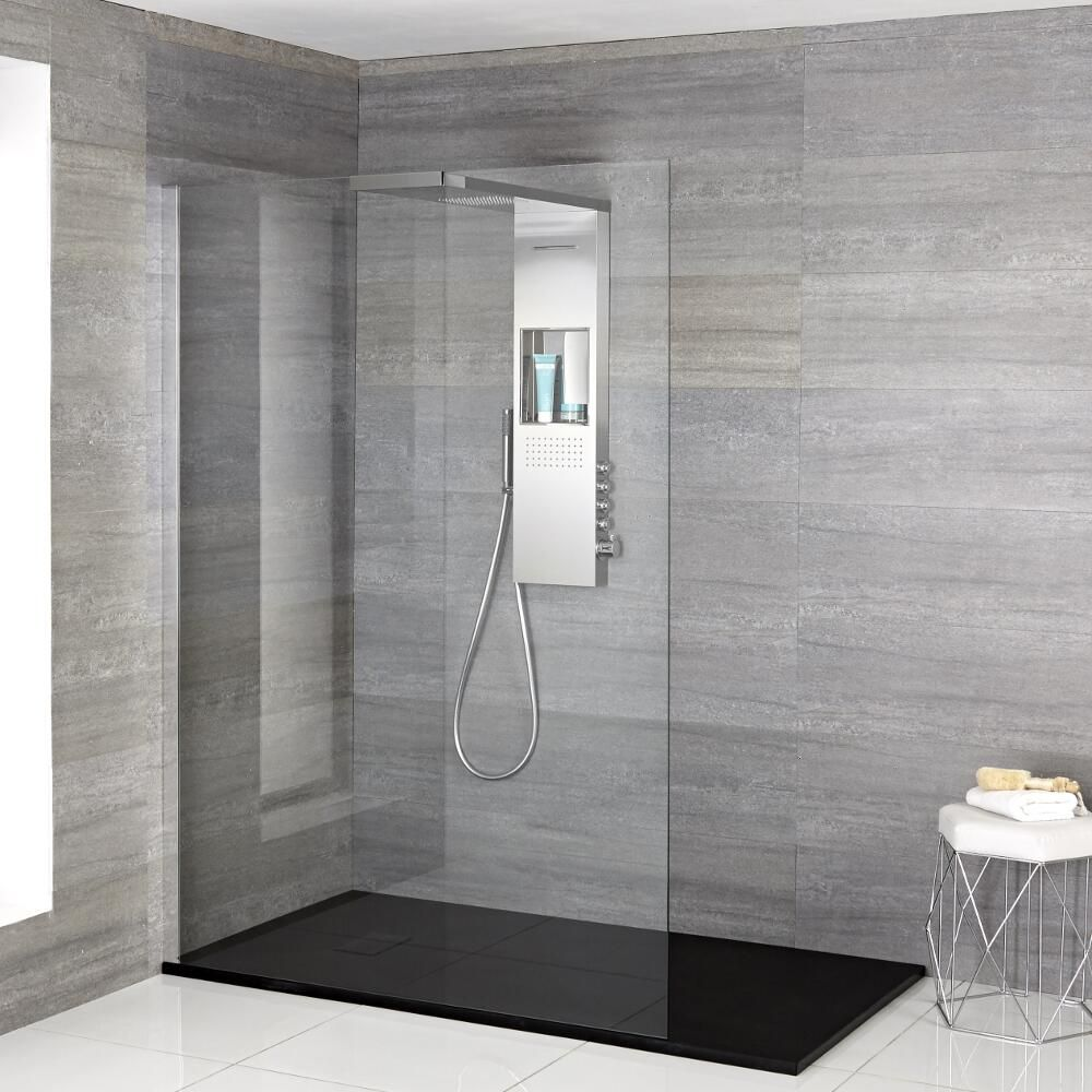 Iko   Komplette Walk In Dusche Mit Duschwanne In Steinoptik U0026 Glashaltendem  Duschpaneel