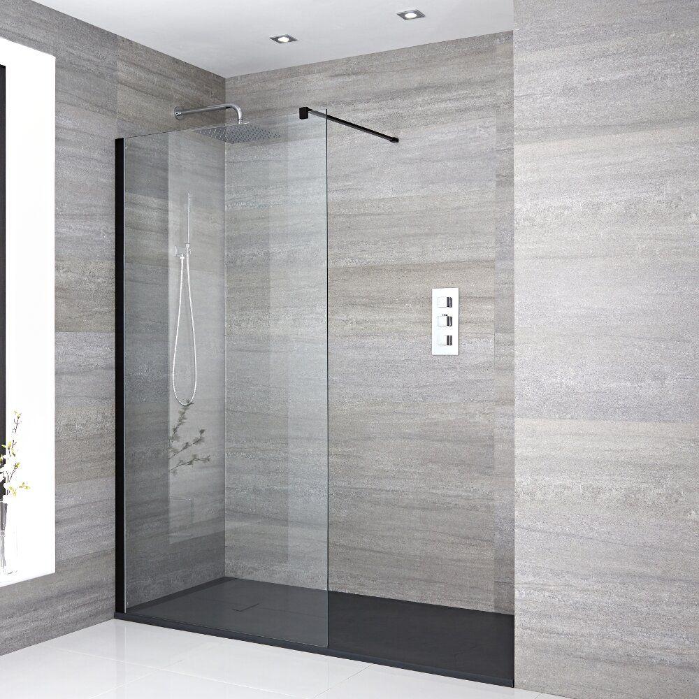 walk in duschwand 1700mm x 900mm inkl schwarzes profil. Black Bedroom Furniture Sets. Home Design Ideas