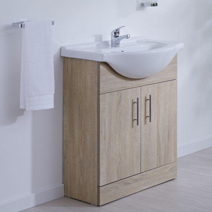Waschtischunterschrank mit Aufsatzwaschbecken 650mm - Eiche mit zwei Türen - ohne Armatur