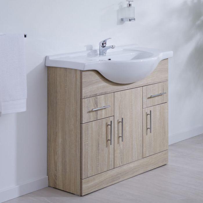 Waschtischunterschrank mit Aufsatzwaschtisch 850mm - Eiche mit drei Türen und zwei Schubladen - ohne Armatur