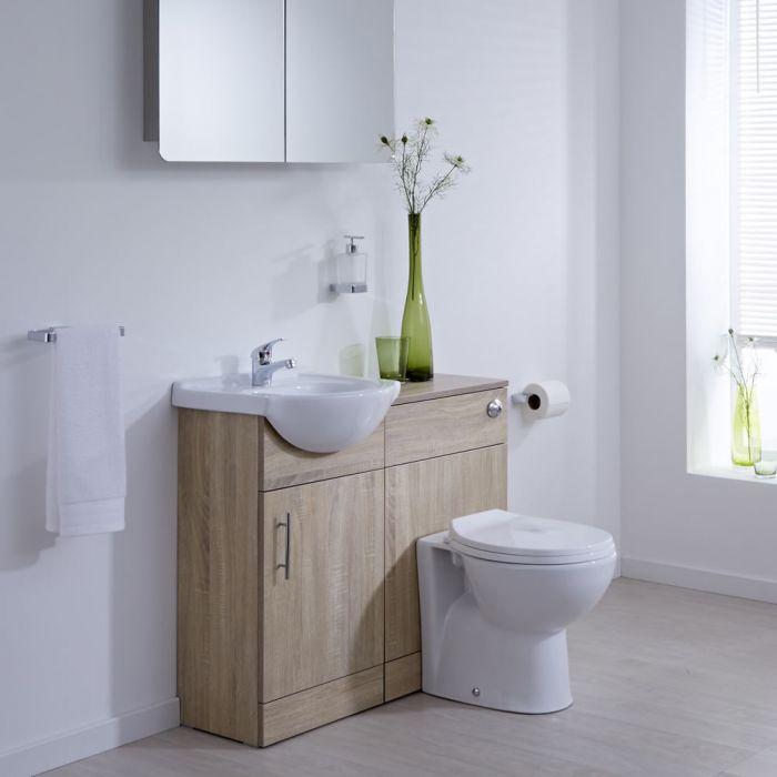 Waschtisch und Toiletten Set - Eiche 940mm - ovale Toilette