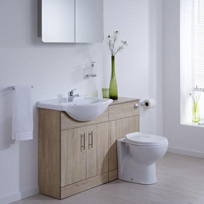 Waschbecken und Toiletten Set - Eiche 1140mm - ovale Toilette
