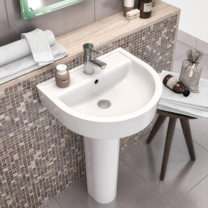 Modernes 42cm Stand-Waschbecken mit Fuß, aus Keramik - Provost