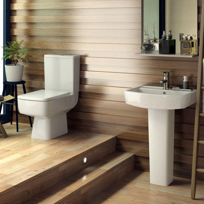 WC und Waschbecken-Set in eckigem Design