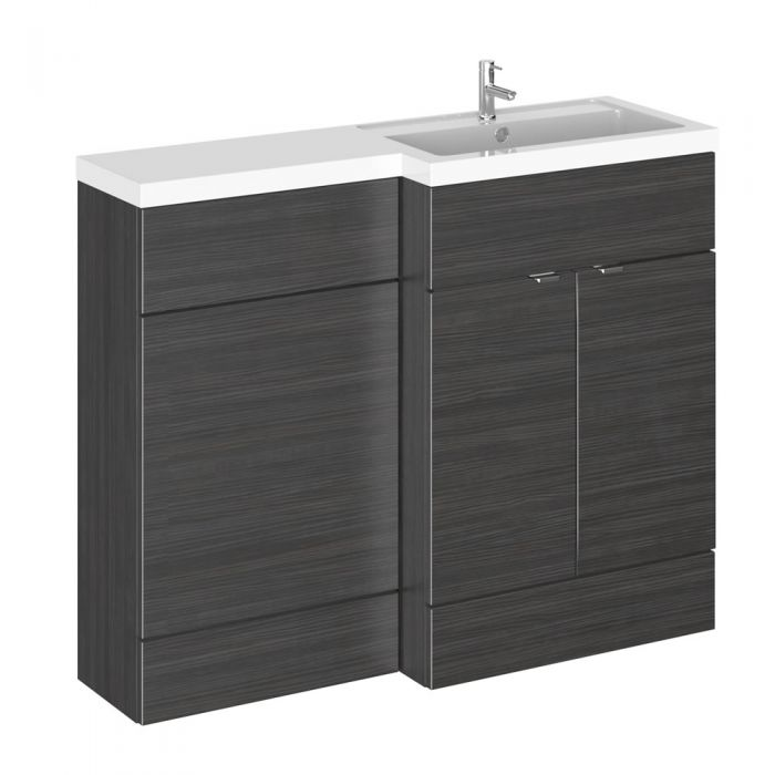 1100mm Waschtisch & WC Kombination - Hacienda Schwarz -Waschtischeinheit rechts