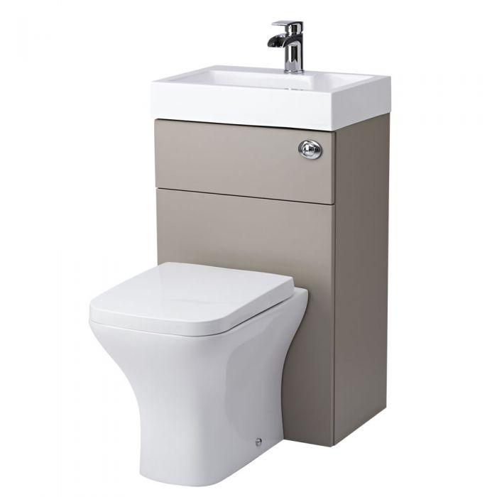 Kombination aus Toilette mit Spülkasten und integriertem Waschbecken Steingrau
