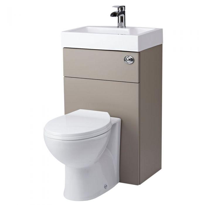 Ovale Toilette mit Spülkasten und integriertem Waschbecken Steingrau
