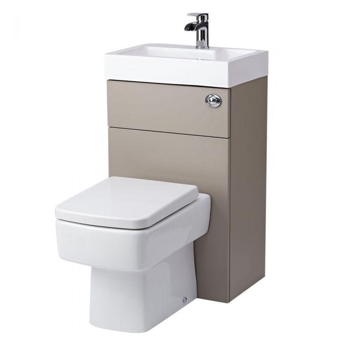 eckige toilette mit sp lkasten und integriertem waschbecken steingrau. Black Bedroom Furniture Sets. Home Design Ideas