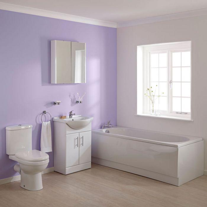 WC mit Spülkasten, Waschtisch und Einbaubadewanne im Set - Ivo