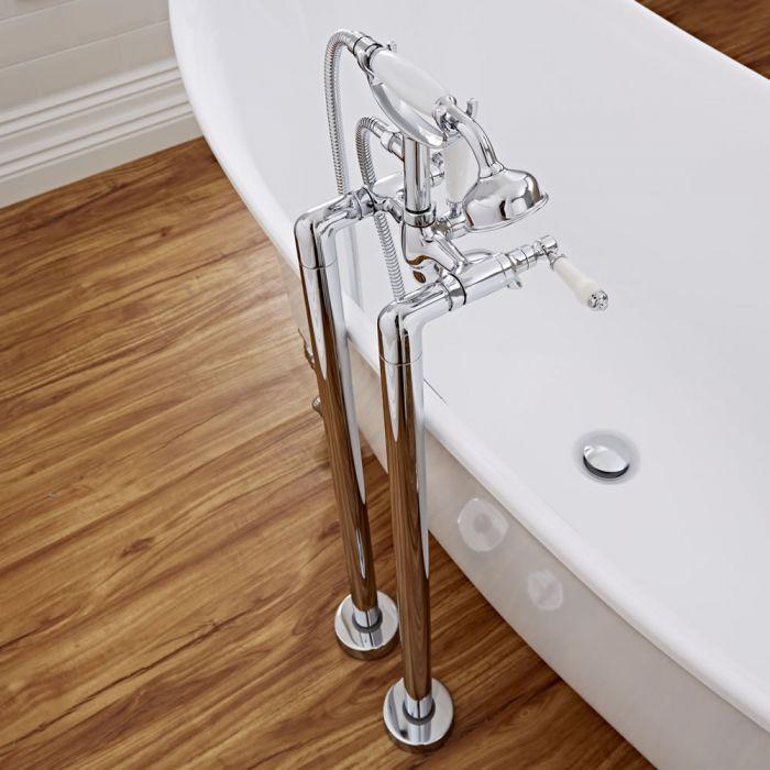 Badewannenarmatur zur Standmontage mit Handbrause und Keramikeinsätzen - Victoria