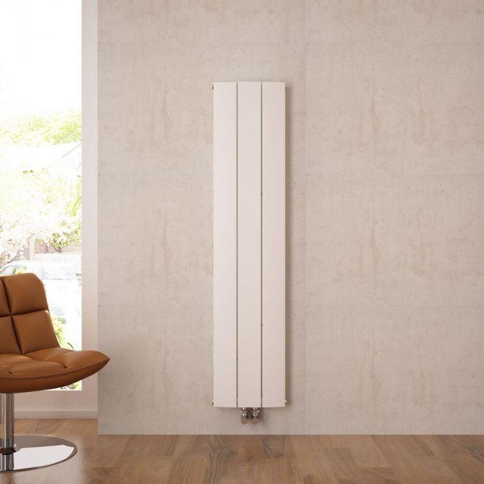 Design Heizkörper Vertikal Einlagig Mittelanschluss - Aluminium Weiß 1600mm x 280mm 1021W - Aurora