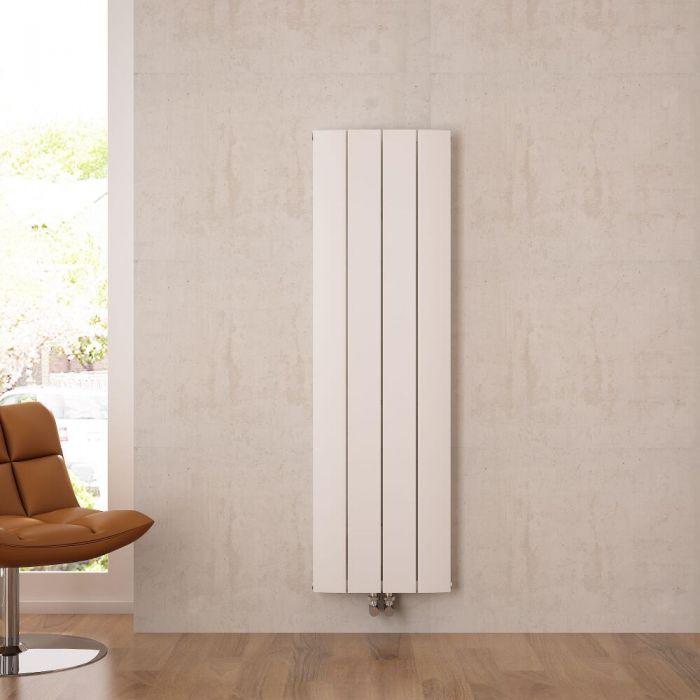 Design Heizkörper Vertikal Einlagig Mittelanschluss - Aluminium Weiß 1600mm x 375mm 1361W - Aurora