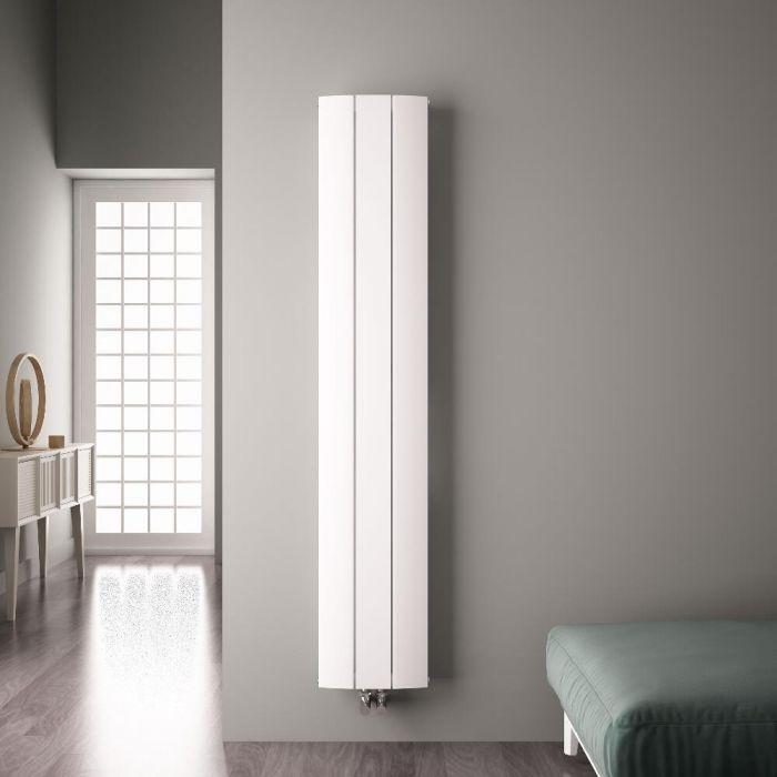 Design Heizkörper Vertikal Einlagig Mittelanschluss - Aluminium Weiß 1800mm x 280mm 1152W - Aurora