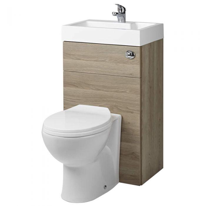 ovale toilette mit sp lkasten und integriertem waschbecken eiche. Black Bedroom Furniture Sets. Home Design Ideas