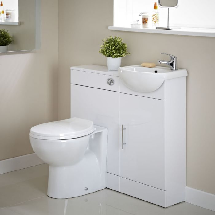 Badausstattung Sienna Weiß mit Keramiktoilette, Waschbecken und WC-Spülung