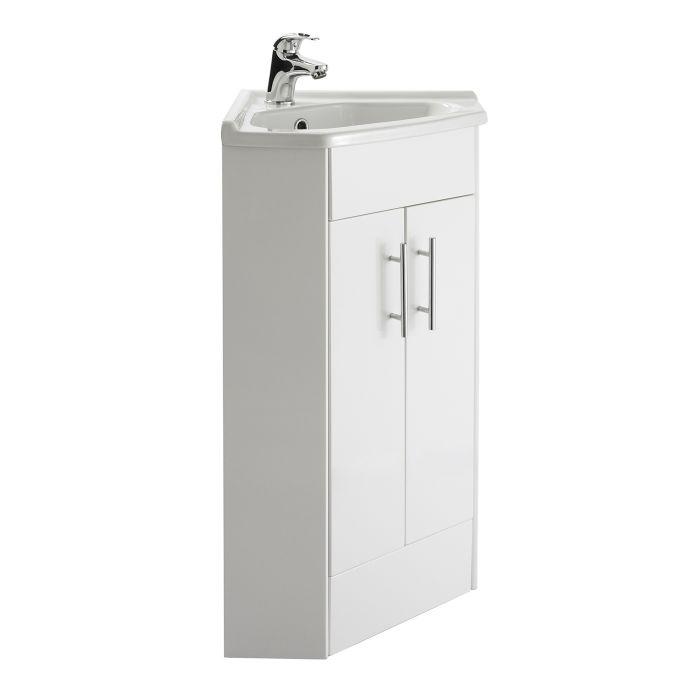 Eckwaschbecken mit Unterschrank in Hochglanz Weiß