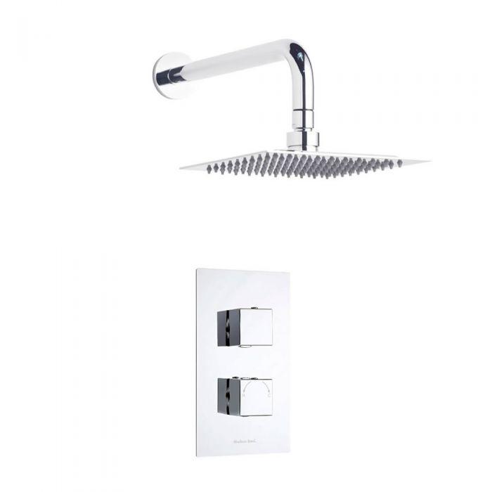Duschsystem Quadrat inkl Kopfbrause & Thermostat Duscharmatur
