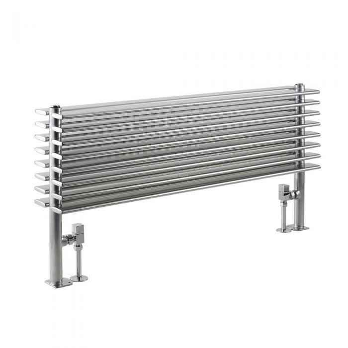 Design Heizkörper Horizontal Doppellagig Silber 504mm x 1000mm 1016W - Fin
