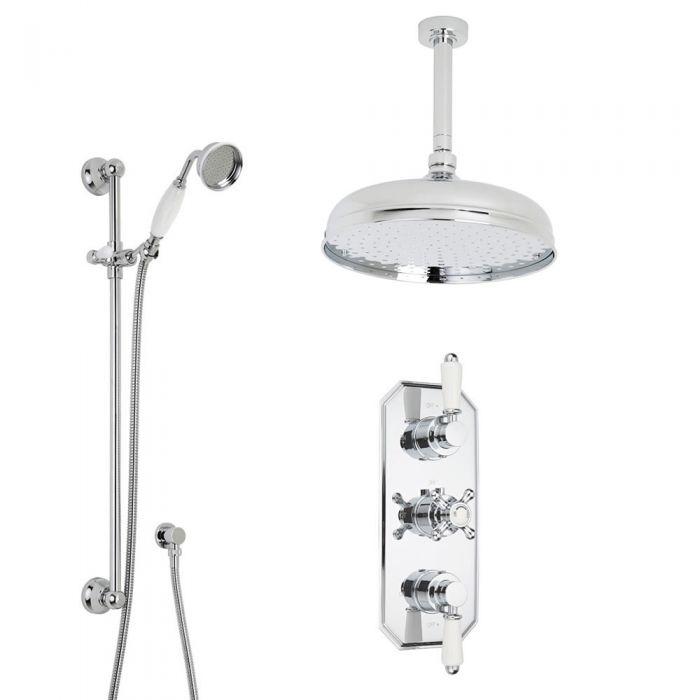 Duschsystem inkl Handbrause mit Stange, Kopfbrause & Thermostat Duscharmatur Jade VI