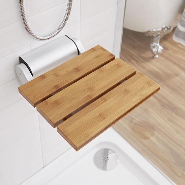Duschsitz zur Wandmontage, Bambus