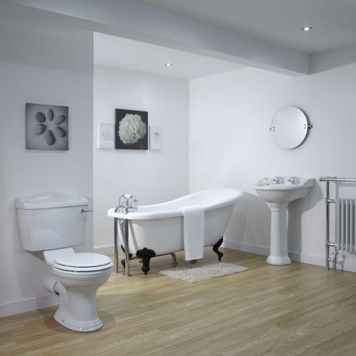 Badewannenausstattung bestehend aus Toilette, Waschbecken und Badewanne mit wählbaren Füßen