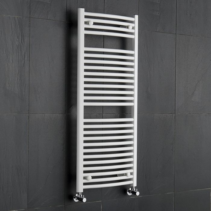 Handtuchheizkörper Gebogen Weiß 1200mm x 500mm 699W - Etna