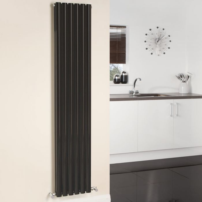 Design Heizkörper Vertikal Doppellagig Schwarz 1780mm x 354mm 1401W - Revive
