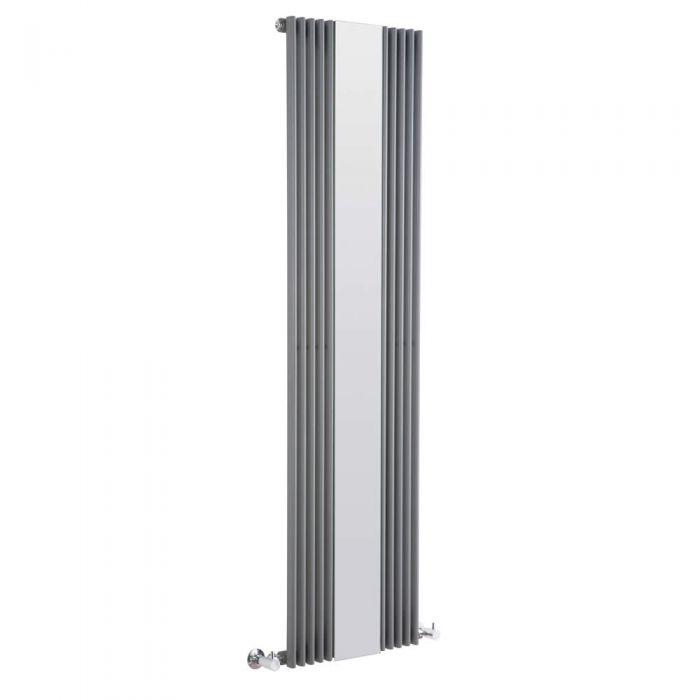 Design Heizkörper Vertikal Einlagig mit Spiegel Anthrazit 1600mm x 420mm 840W - Keida