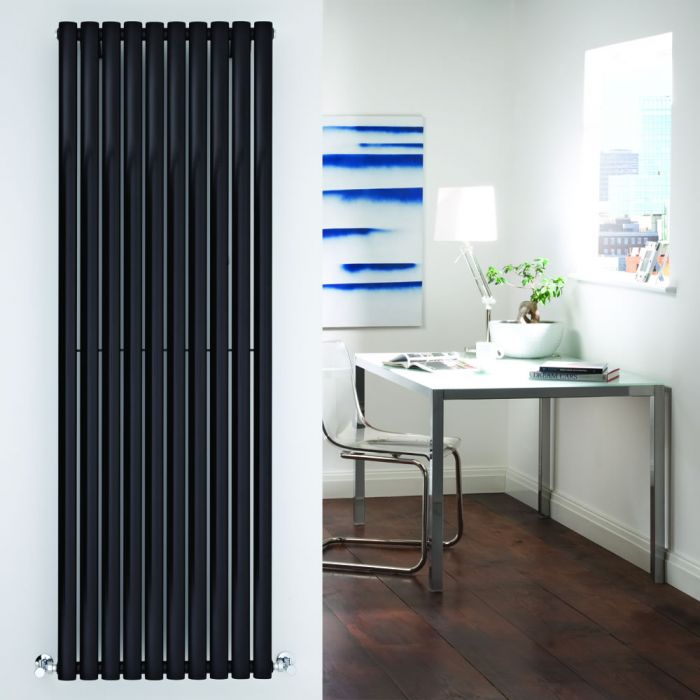 Design Heizkörper Vertikal Einlagig Schwarz 1780mm x 590mm 1487W - Revive