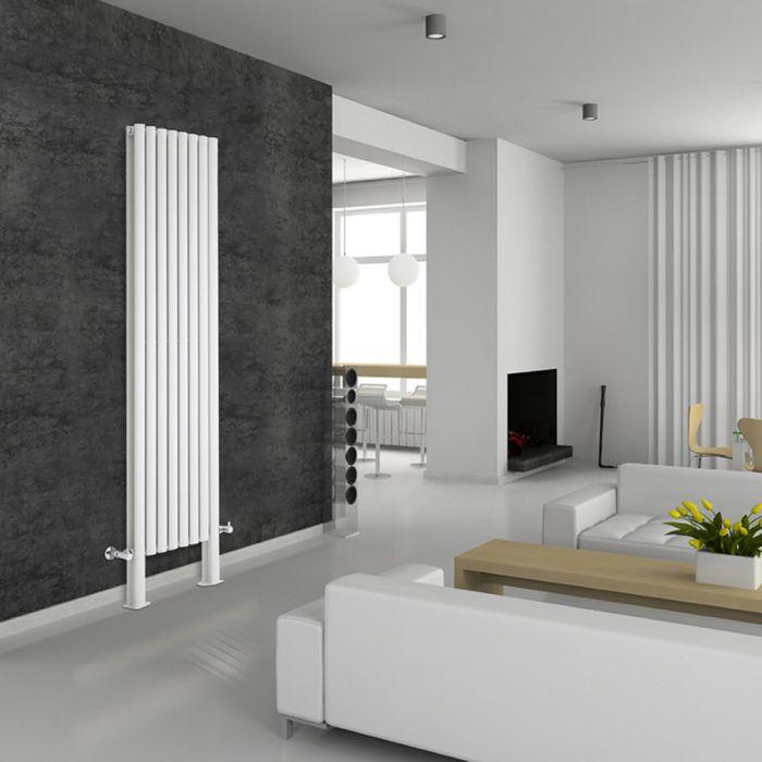 Design Heizkörper Vertikal Doppellagig mit Füßen Weiß 2000mm x 472mm 1868W - Revive Plus