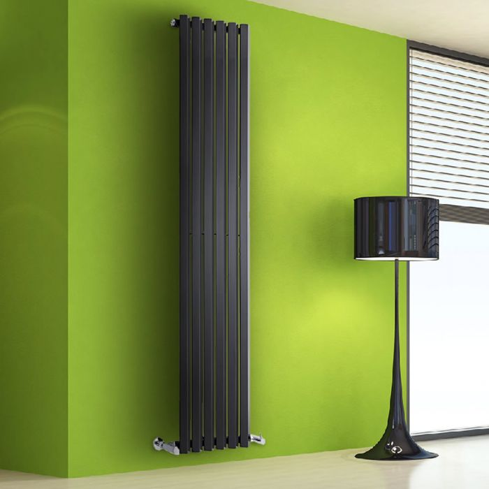 Design Heizkörper Vertikal Einlagig Schwarz 1780mm x 420mm 1050W - Vital